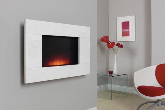 White Wall Mounted Fire: Bm Dante Wall Mount Fire-natural White : Be Modern