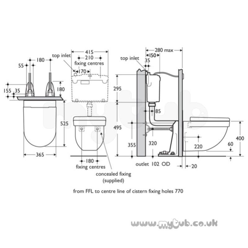 Ideal Standard Washpoint R3426 Wall Hung Ho Pan White