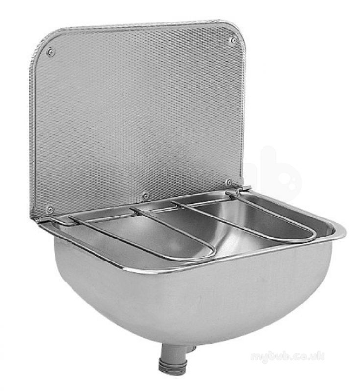 Wb440cp bucket sink with grid and splashback sissons for Metal bucket sink