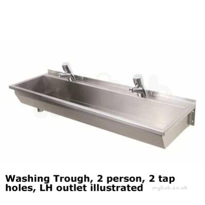 1200 Washing Trough Left Hand Outlet 2 Person X Two Tap
