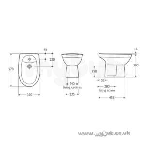 Ideal Standard Alto -  Ideal Standard Alto R3706 One Tap Hole Bidet White