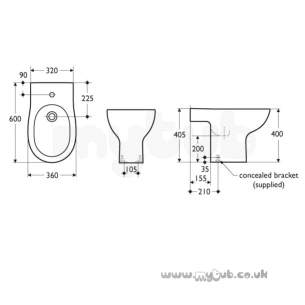 Ideal Standard Create -  Ideal Standard Create E3023 600 X 360mm One Tap Hole Bidet White