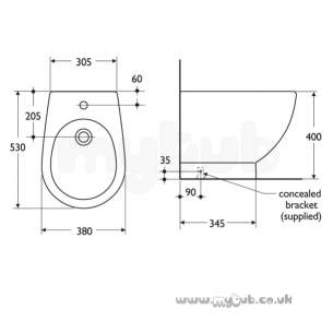 Ideal Standard Luxury -  Ideal Standard White E0027 Floor Standing One Tap Hole Bidet Wh