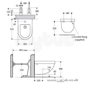 Ideal Standard Washpoint -  Ideal Standard Washpoint R3718 One Tap Hole Wall Hung Bidet Wh