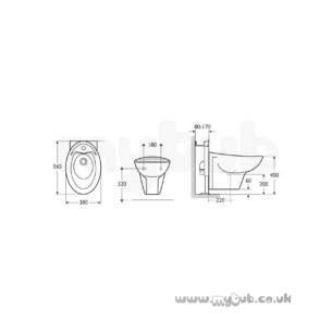 Ideal Standard Purity -  Ideal Standard Purity K5047 One Tap Hole Wall Mounted Bidet Wh