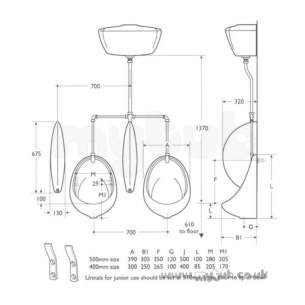 Armitage Shanks Commercial Sanitaryware -  Armitage Shanks Sanura S6105 405mm Urinal Bowl White