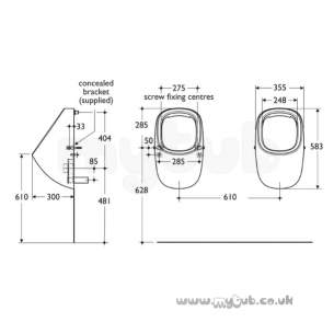 Armitage Shanks Commercial Sanitaryware -  Armitage Shanks Jasper Morrison Rim Flush Urinal