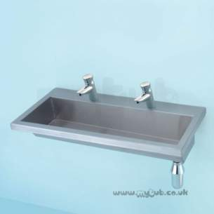 Armitage Shanks Commercial Sanitaryware -  Armitage Shanks Calder S2811 1200mm Left Hand 0-u No Tap Holes Trough Ss