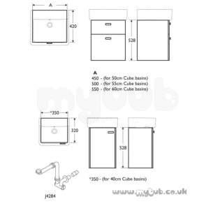 Ideal Standard Concept Furniture -  Ideal Standard Concept E6442uh W/h 350 Cube Unit Oak/wh
