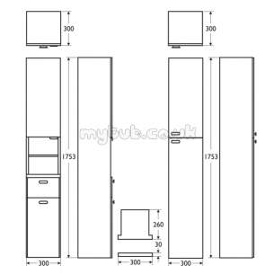 Ideal Standard Concept Furniture -  Ideal Standard Concept E6464sx Column 300 Unit D.wnut