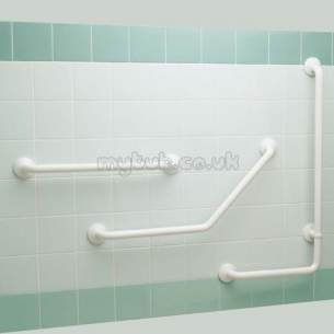 Armitage Grips Levers and Wastes -  Armitage Shanks S6742 Left Hand Alum Angle/shower Grab Rail Wh