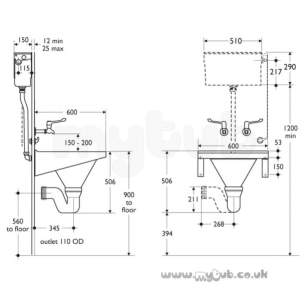 Armitage Shanks Commercial Sanitaryware -  Armitage Shanks Leven S/hopper S6525my Bi With B/grtg Po