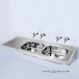 Armitage Shanks Commercial Sanitaryware -  Armitage Shanks Doon S5855 1800 X 600mm No Tap Holes Dblhd Sink Ss