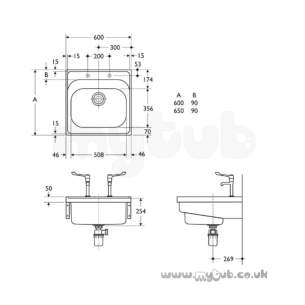 Armitage Shanks Commercial Sanitaryware -  Armitage Shanks Doon S5860 600x600mm 2th 1.0b Sink Ss