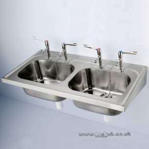 Armitage Shanks Commercial Sanitaryware -  Armitage Shanks Doon S5865 1200 X 600mm No Tap Holes 2 0b Sink Ss