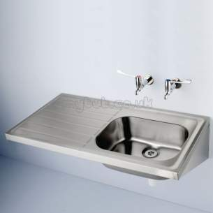 Armitage Shanks Commercial Sanitaryware -  Armitage Shanks Doon S5840 1200 X 600mm Two Tap Holes Rhd Sink Ss