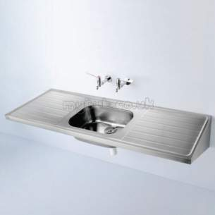 Armitage Shanks Commercial Sanitaryware -  Armitage Shanks Doon S5848 1800 X 600mm Two Tap Holes Dd Sink Ss