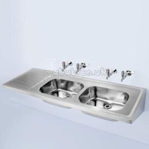 Armitage Shanks Commercial Sanitaryware -  Armitage Shanks Doon S5852 1800 X 600mm Two Tap Holes Rhd Sink Ss
