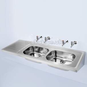 Armitage Shanks Commercial Sanitaryware -  Armitage Shanks Doon S5856 1800 X 650mm Two Tap Holes Dbrhd Sink Ss