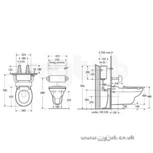 Armitage Shanks Commercial Sanitaryware -  Armitage Shanks Contour 21 W/h Pan White 70 Proj