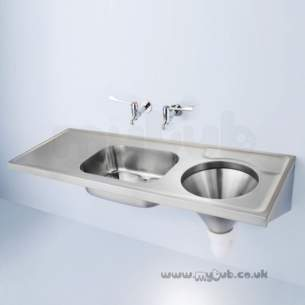 Armitage Shanks Commercial Sanitaryware -  Armitage Shanks Dee S6501 Nth Bi Sink And Lh Slop Hopper Ss