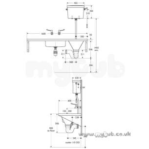 Armitage Shanks Commercial Sanitaryware -  Armitage Shanks Dee S6506 Two Tap Holes Ti Sink And Right Hand Slop Hopper Ss