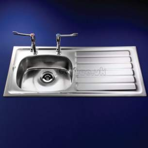 Armitage Shanks Commercial Sanitaryware -  Armitage Shanks S5878 Stewart Sink 100 X 50 Lh Drnr Pol Ss