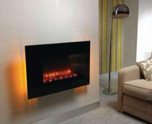 Be Modern Fires Gas and Electric -  36 Inch Arizona Wall Mounted Fire Black Glas