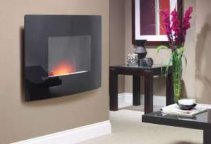 Be Modern Fires Gas and Electric -  Bm Dante Wall Mount Fire -curveblk Glass
