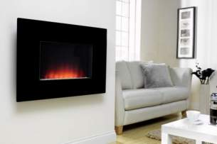 Be Modern Fires Gas and Electric -  Bm Dante Wall Mount Fire -flat Blk Glass