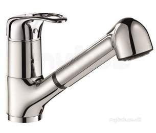 Delabie Brassware -  Delabie Mech Sink Mixer Swivel Spout/ret. Spray H105mm Sculpt Lever