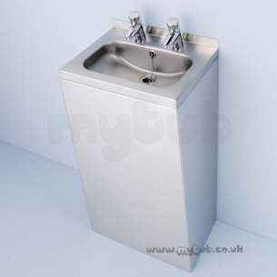 Armitage Shanks Commercial Sanitaryware -  Armitage Shanks Denholm S2323mz 600mm Two Tap Holes Basin Ss