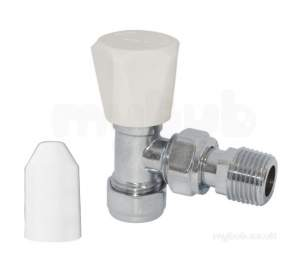 Pegler Bulldog TrvS and Manual Valves -  Bulldog 643113 Chrome/white Wheelhead Lockshield Manual Valve Pack 8mm/10mm