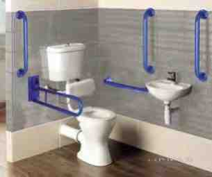 Eastbrook Sanitary Ware -  Loire Low Lvl Docm Pcks Wh And Blue Grips