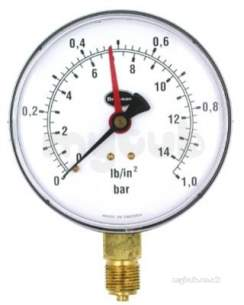 Brannan Thermometers -  Brannan 100mm Press Gauge 0-2bar 34/652