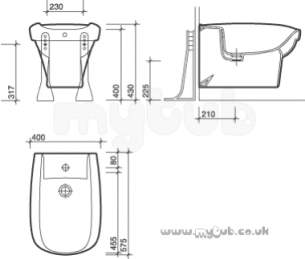 Twyford Envy -  Envy Nv3411 1th Wall Hung Bidet Wh Nv3411wh