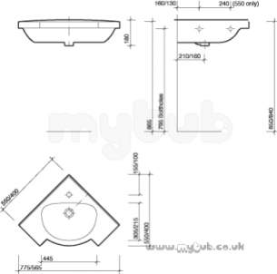 Twyfords Luxury -  Galerie Optimise 400 X 400 Corner Basin Wh Gp4811wh