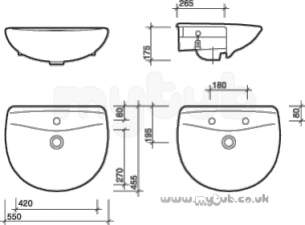 Twyfords Luxury -  Entice En4621 One Tap Hole Semi-recessed Basin Wh Special En4621wh