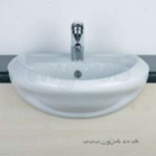 Twyfords Luxury -  Wave Wa4621 One Tap Hole Semi-countertop Basin Wh Wa4621wh