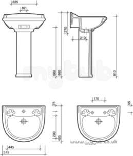Twyfords Luxury -  Chantal Cn4212 575mm 2th Basin White Special Cn4212