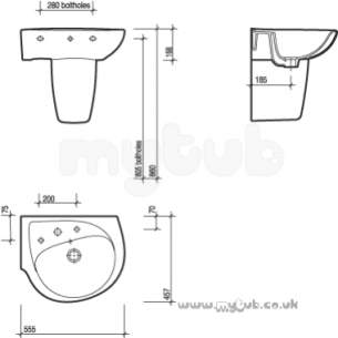 Twyfords Luxury -  Galerie Optimise Left Hand O/set Two Tap Holes Basin Wh Gp4422wh