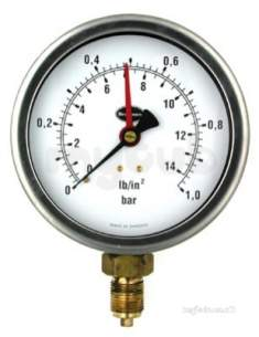 Brannan Thermometers -  100mm Beta P/gauge 0/16bar And Psi 37/656/0