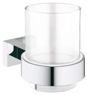 Grohe Essentials Cube Crystal Glass With Holder 40755001