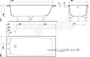 Twyfords Acrylic Baths -  Twyford Refresh Re8542 Two Tap Holes Bath And Grips Wh Re8542wh