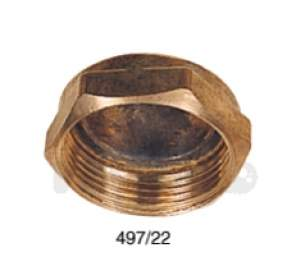Brass Bushes Sockets and Plugs -  Midbras 22mm Blank Brass Capnut 03 497/22