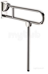 Delabie Grab and Hand Rails -  Delabie Drop-down Rail With Leg 32 L650 Stainless Steel Satin