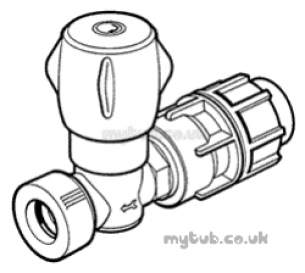 Hep2O Underfloor Heating Pipe and Fittings -  Hep20 22mm/25mm Mdpe Stoptap Cold Hx43