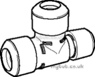 Hep2O Pipe and Fittings -  Hep20 22x 15x 22mm Slimline Red Tee Hx12