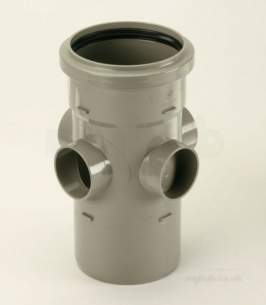 Center Soil Waste and Overflow -  Center Universal Boss Pipe 110mm Grey 1 Pack