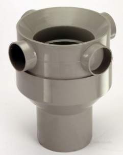 Center Soil Waste and Overflow -  Center Universal Manifold 110mm Grey 1 Pack